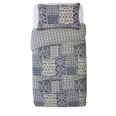 Argos Home Navy Tile Sateen Bedding Set - Single