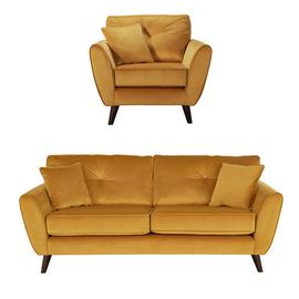 Argos Home Isla Velvet Chair & 3 Seater Sofa - Gold