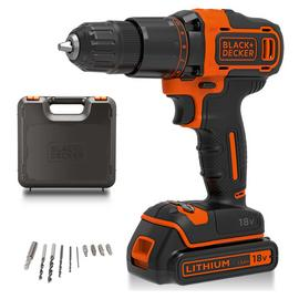 Black + Decker Cordless Hammer Drill with Battery - 18V