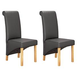 Argos Home Pair of Scrollback Deep Skirted Chairs - Black