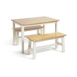 Argos Home Chicago Solid Wood Table & 2 Two Tone Benches
