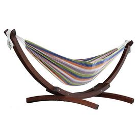 Vivere Double Cotton Hammock With Wooden Stand - Retro
