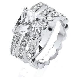 Buckley Silver Colour Vintage Style CZ Trilogy Ring