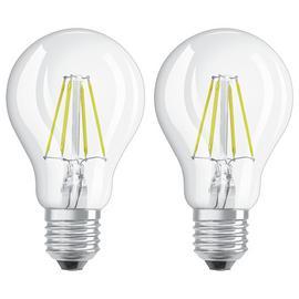 Osram 4W Filament LED Classic Glass ES GLS Bulb - Twin Pack