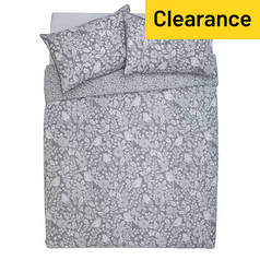 Argos Home Grey Woodcut Printed Bedding Set - Kingsize