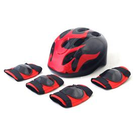Challenge Kid's Bike Helmet, Elbow and Knee Pads - Fire