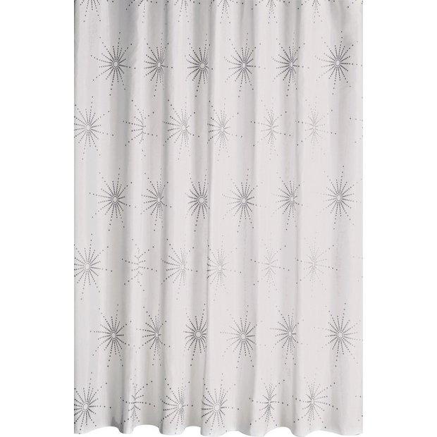 Buy Home Starburst Shower Curtain White Shower
