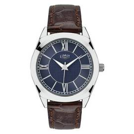 Limit Men's Brown Crocodile Effect Leather Strap Watch
