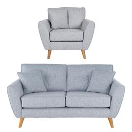 Argos Home Isla Fabric Chair & 2 Seater Sofa - Blue