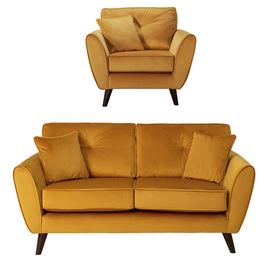 Argos Home Isla Velvet Chair & 2 Seater Sofa - Gold