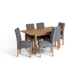 Habitat Clifton Extending Table & 6 Button Chairs - Grey