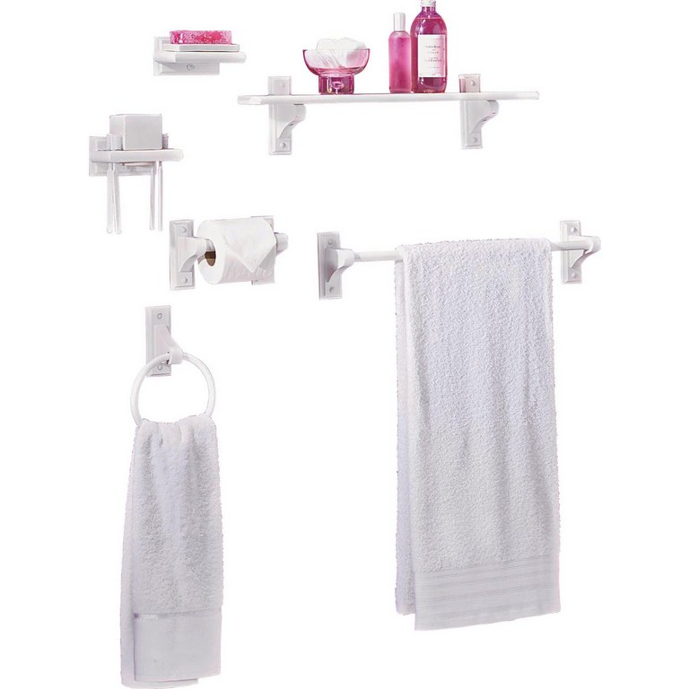 Wooden Bathroom Accessories Uk buy home 6 piece wooden bathroom accessory set - white at argos.co