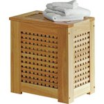 more details on HOME 67 Litre Wooden Laundry Bin - Natural.
