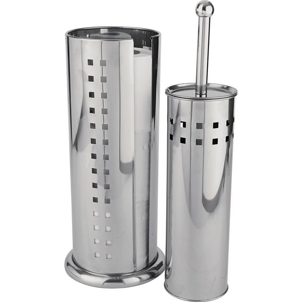 Bathroom Accessories Argos : Buy home squares toilet brush and roll holder stainless