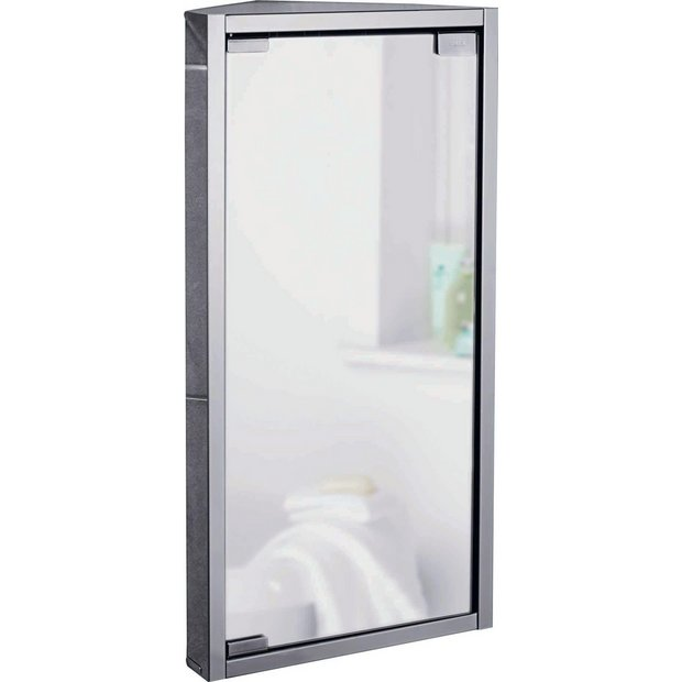Buy home mirrored bathroom corner cabinet stainless for Argos kitchen cabinets