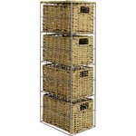 more details on HOME Slimline 4 Drawer Seagrass Storage Tower - Natural.