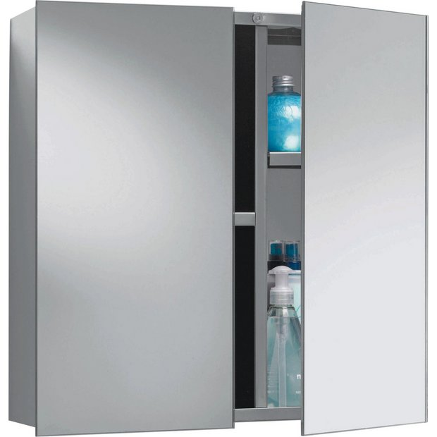 Buy Home Double Door Mirrored Bathroom Cabinet Stainless