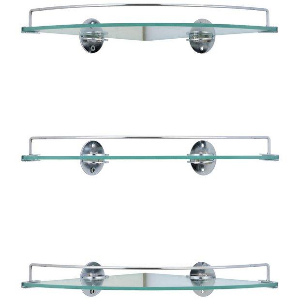 Buy HOME Set of 3 Glass Corner Shelves at Argos.co.uk - Your Online ...