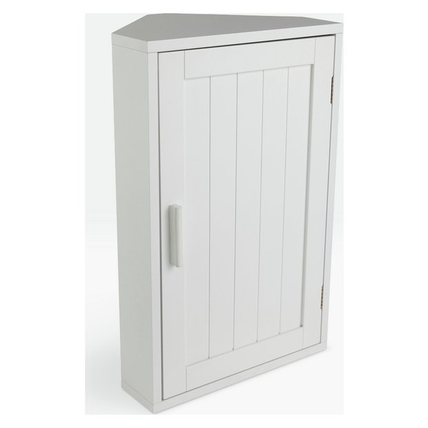 Buy home wooden corner bathroom cabinet white at argos for Homebase kitchen cabinets