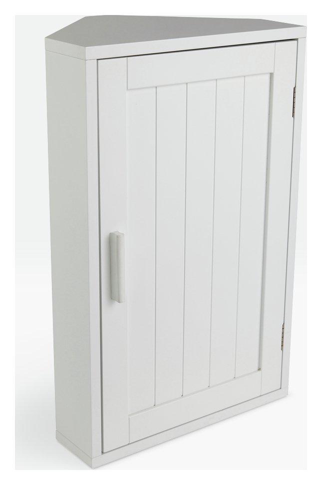 Good HOME Wooden Corner Bathroom Cabinet   White