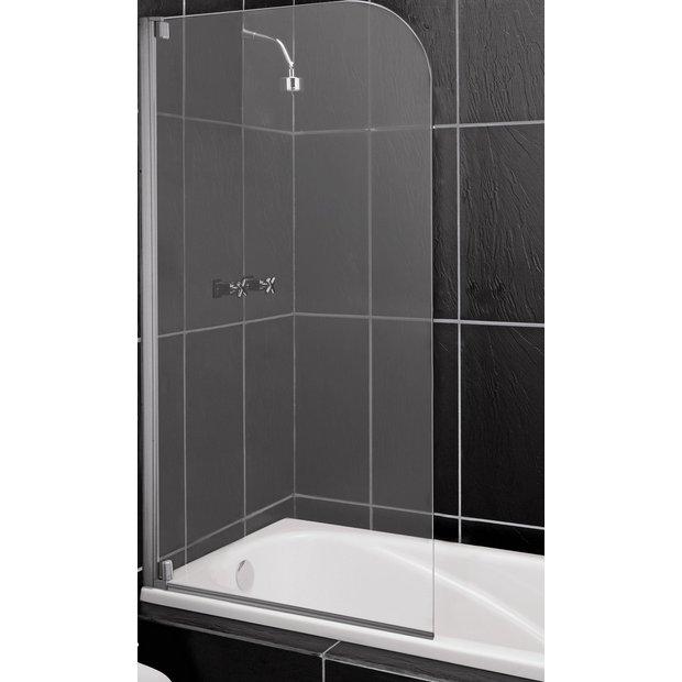 buy home half framed single radius shower screen clear. Black Bedroom Furniture Sets. Home Design Ideas