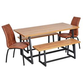 Argos Home Nomad Oak Effect Table, 2 Benches & 2 Milo Chairs