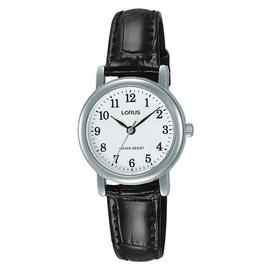 Lorus Ladies' Easy Read Dial Black Leather Strap Watch