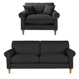 Argos Home William Fabric Chair & 3 Seater Sofa - Charcoal