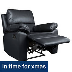 Argos Home Toby Leather Effect Recliner Chair - Black