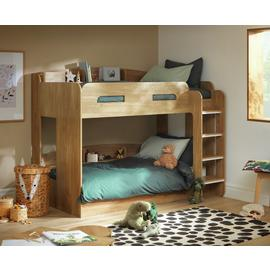 Argos Home Ultimate Oak Effect Bunk Bed & 2 Kids Mattresses