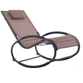 Vivere Wave Metal Rocker Chair - Macchiato On Matte Grey