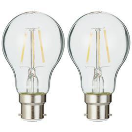 Osram 4W Filament LED BC Classic Glass GLS Bulb - Twin Pack