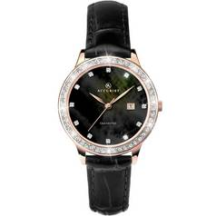 Accurist Ladies' Diamond Set Dial Black Leather Strap Watch