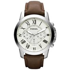 614781f3a6f Fossil Grant Men s Brown Leather Strap Chronograph Watch