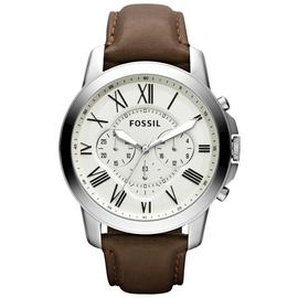 Fossil Grant Men's Brown Leather Strap Chronograph Watch