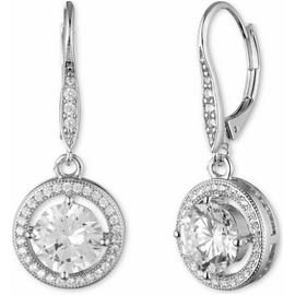 Anne Klein Silver Colour Cubic Zirconia Halo Drop Earrings