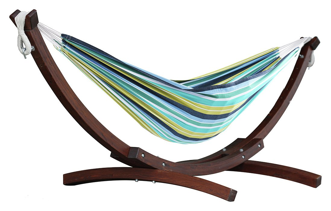 vivere double cotton hammock with wooden stand   cayo reef hammocks and swing seats   argos  rh   argos co uk