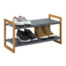 Argos Home 2 Tier Bamboo Shoe Rack - Grey