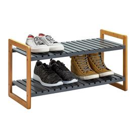 Argos Home 2 Tier Bamboo Shoe Rack - Grey