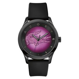Lacoste Ladies' Valencia Black and Purple Dial Strap Watch