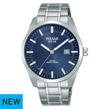 Pulsar Men's Solar Blue Dial Stainless Steel Bracelet Watch