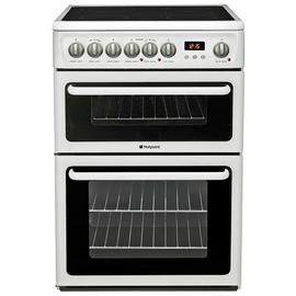 Hotpoint HAE60P 60cm Double Oven Electric Cooker - White Best Price, Cheapest Prices