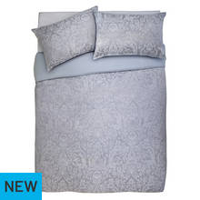 Argos Home Grey Damask Jacquard Bedding Set - Kingsize