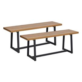 Habitat Nomad Pair of Dining Benches - Oak Effect