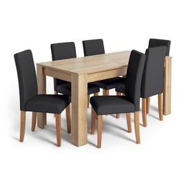 Habitat Miami XL Oak Effect Extending Table & 6 Chairs