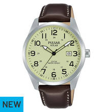 Pulsar Men's Solar Powered Brown Leather Strap Watch