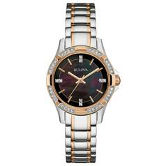 Bulova Ladies' Stone Set Dark Mother of Pearl Dial Watch
