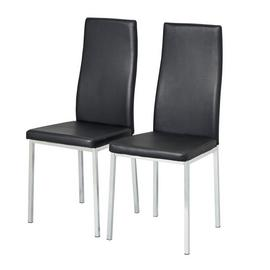 Argos Home Tia Pair of Chrome and Black Dining Chairs