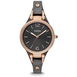 Fossil Georgia Ladies' ES3077 Rose Gold/Smoke Leather Watch
