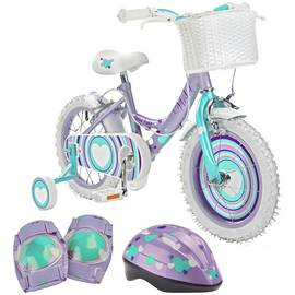 0a34e297539 Pedal Pals 14 Inch Violet Hearts Bike and Accessories Set